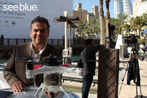 Osamah Rawashdeh, triple degree holder from UK, with the Loon Copter at the Drones for Good competition in the United Arab Emirates.