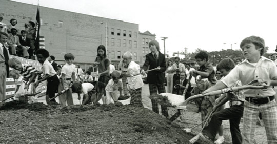 Local students were invited to participate in the groundbreaking for Rupp Arena and Lexington Convention Center on June 21, 1974.