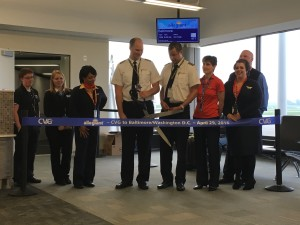 Allegiant Air's flight crew on its inaugural new nonstop service from CVG to Baltimore/Washington D.C.