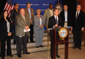 Lexington Mayor Jim Gray announces homelessness has declined 26% in two years.