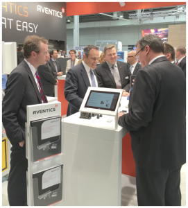 Gov. Matt Bevin, center, meets with executives from AVENTICS during the Hannover Messe industrial expo in Germany April 26.