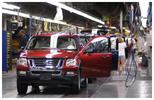 Ford Explorers and Sport Trac SUVs roll off the assembly line Thursday, July 24, 2008 at the Louisville Assembly Plant in Louisville, Ky. Bill Russo, Ford's director of manufacturing operations, announced today that the two Ford plants in Louisville will close for up to six months each to retool the facilities to handle new product lines. (AP Photo/Brian Bohannon) ORG XMIT: KYBB108