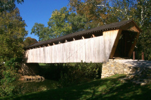 Switzer Covered Bridge in Frankfort near scenic Elkhorn Creek was constructed in 1855 and totally restored after damage from a flood in 1997. (Courtesy of Kentuckytourism.com)