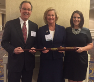 Kentucky Chamber President and CEO Dave Adkisson and Vice President of Public Affairs Ashli Watts presented Rep. Leslie Combs with Chamber MVP Award.