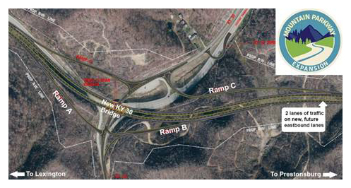 New bridge, ramps opened today on Mountain Parkway – Lane Report on map of blue ridge parkway in virginia, map of bluegrass parkway, road maps of muhlenberg county ky, map of i-75 in ky, city of campton ky, map of i-65 in ky, mountain towns in ky,
