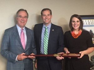 Kentucky Chamber President Dave Adkisson, left, and VP of Public Affairs Ashli Watts presented Sen. Max Wise with the Chamber MVP Award.