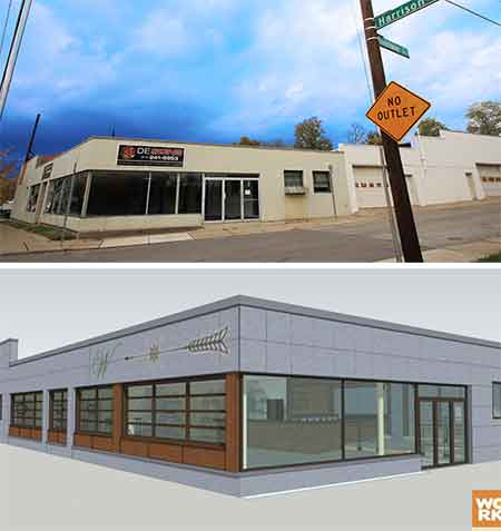 TOP: Harrison Avenue across from the Westwood Town Hall in Westwood as it looks today. BOTTOM: Rendering of the proposed project.