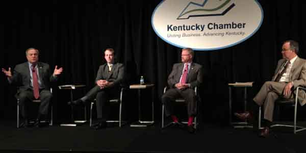 (From left to right) Senate President Robert Stivers, House Majority Floor Leader-designee Jonathan Shell, Senate Majority Floor Leader Damon Thayer and Kentucky Chamber President and CEO Dave Adkisson discussed important issues facing Kentucky at the 2017 Legislative Preview Conference.