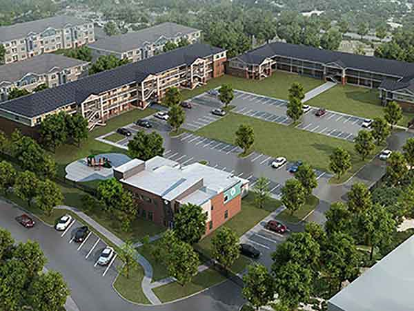 A rendering of the 34-acre, $70 million Riverport Landings campus of LDG Development's Family Scholar House project in the Cane Run area near Louisville.