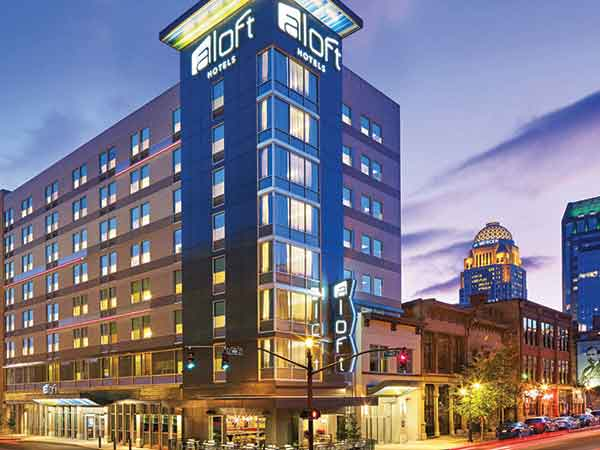 The eight-story 175-room $23 million Aloft Hotel at First and Main in downtown Louisville opened in 2015. It is one of more than a dozen successful hotel projects by longtime Louisville developer Steve Poe.