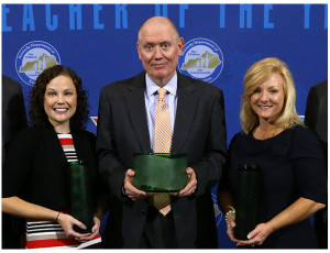 From left, Sarah Mills (2017 Middle School Teacher of the Year), Ron Skillern (2017 Kentucky Teacher of the Year), Kellie Jones (2017 Elementary School Teacher of the Year).