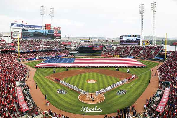 The Cincinnati Reds play at Great American Ball Park on the Ohio River bank, which is easily accessible by foot from Northern Kentucky.