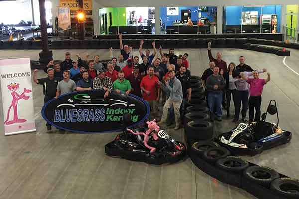 Owens Corning takes to the track at Bluegrass Indoor Karting in Louisville.