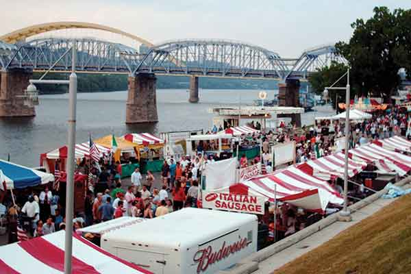 The bank of the Ohio River lends itself to prime festival locations, including popular attractions like Newport Octoberfest.