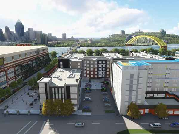 The $80 million Aqua on the Levee is a mixed-use development in Newport that is near completion.
