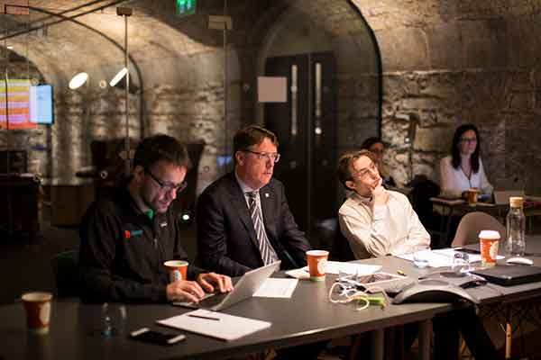 The Pearse Lyons Accelerator interview panel selected start-ups to take part in a mentorship program for agri-business innovators. From left to right: Jon Bradford, program advisor, Aidan Connolly, chief innovation officer at Alltech and David Hunt, co-founder of Agrilarity.