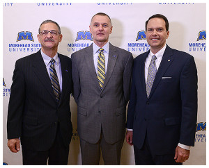From left, MSU President Dr. Wayne D. Andrews, Board of Regents Chair Paul C. Goodpaster and incoming President Dr. Joseph (Jay) Morgan.