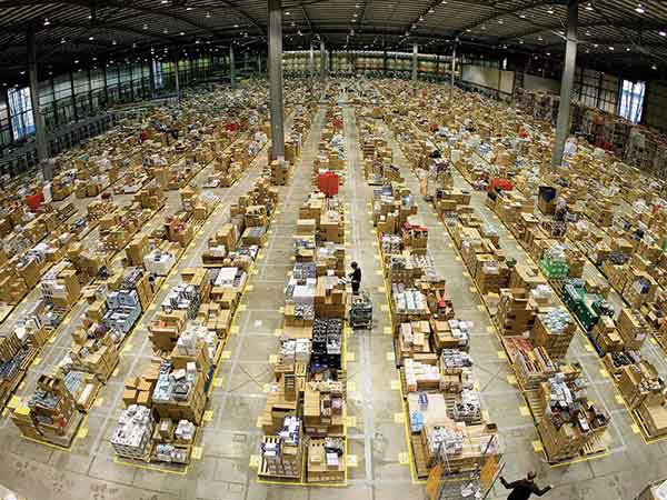 Image from a current Amazon fulfillment center. Amazon currently has 11 fulfillment, distribution and return facilities in Kentucky that employ more than 10,000. Its planned first ever Prime Air hub at Cincinnati-Northern Kentucky International Airport will add up to 2,700 more jobs and prepare Amazon to expand into new services.