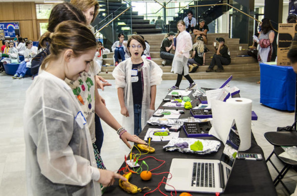 Middle school students were awed when they got the chance to turn a banana into a percussion instrument at the 2017 Expanding Your Horizons STEM workshop for girls.