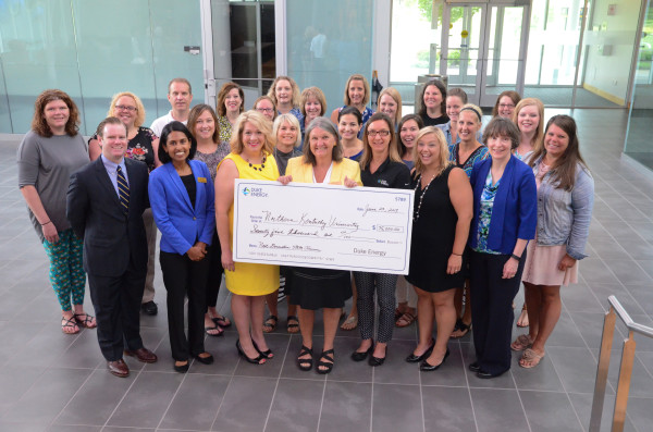 Duke Energy presented NKU's Center for Integrative Natural Science and Mathematics (CINSAM) with a $75,000 grant to expand its NextGen STEM Project leadership class.