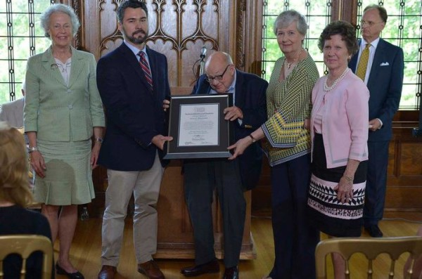 (Starting second from left) UK Department of Historic Preservation faculty Douglas Appler, Clyde Carpenter and Allison Carll-White were on hand to accept Service to Preservation Award from the Kentucky Heritage Council on May 30. Photo courtesy of KHC.