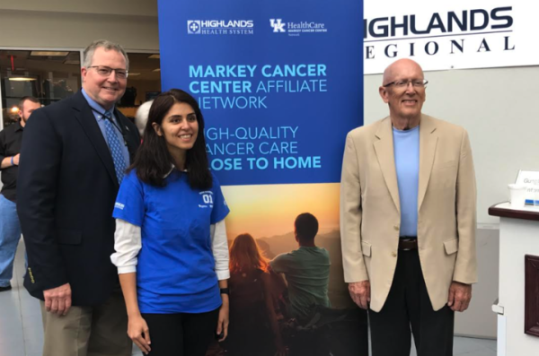(L to R) Markey's Medical Director Dr. Tim Mullett, HRMC oncologist/hematologist Dr. Swaty Arora and HRMC/Markey patient Dennis Dorton.