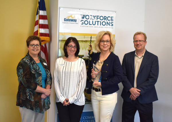 (L-R) Carissa Schutzman, vice president of Workforce Solutions, Christi Dover, Debby Shipp, vice president of business growth and international affairs for the Northern Kentucky Chamber of Commerce, and Mike Koch