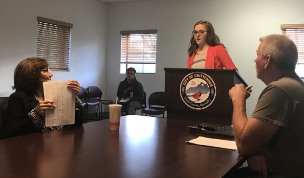 Grant County High School student Brookynn Scudder urged Crittenden City Council members to adopt a Complete Streets Policy.