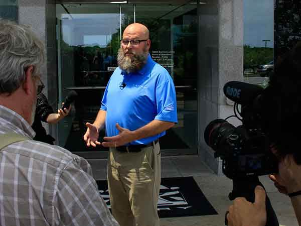 Chad Lindon, a Powertrain production team member, discussed the 2018 Camry with the media on Wednesday.