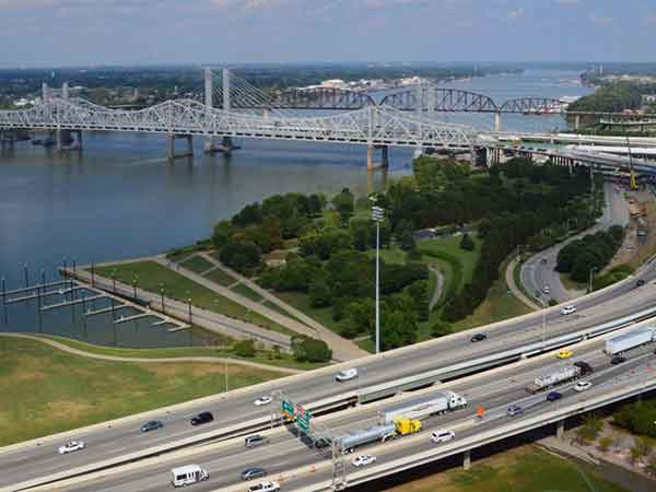 The new Downtown Crossing was almost $1.3 billion of the total cost of the Ohio River Bridges Project, and involved 60 new ramps and overpasses, 60 retaining walls, as well as almost 50 miles of new roadway, doubling the capacity of cross-river traffic with a combined 12 lanes.