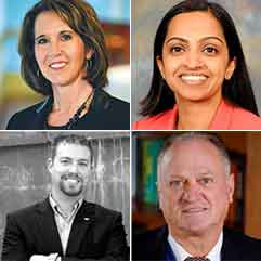 (Clockwise from top left) Dr. Kathlyn Burkhardt, Sharmili Reddy, Blevins Bowlin and Patrick Henshaw.