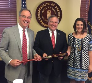 Kentucky Chamber President and CEO Dave Adkisson and VP of Public Affairs Ashli Watts presented Senate President Robert Stivers with the Chamber MVP Award.