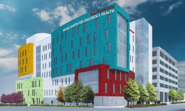The architectural rendering shows the Novak Center for Children's Health, scheduled to open in July 2018 at the UofL Health Sciences Center.