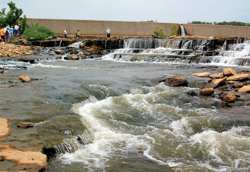 The Falls of the Ohio River in Clarksville are a major tourist attraction in Clark County. The 390-million-year-old fossil beds are among the largest, naturally exposed, Devonian fossil beds in the world.