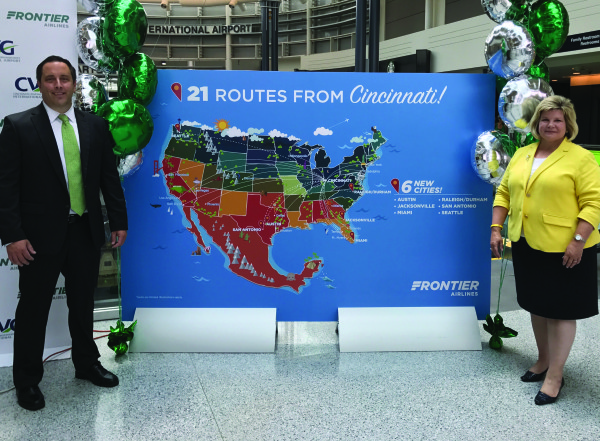 Mark Mitchell, chief accounting officer of Frontier Airlines, and Candace McGraw, CEO of Cincinnati/Northern Kentucky International Airport, announced six new direct flights serving CVG on July 18, increasing the number of direct service routes at CVG to 56.