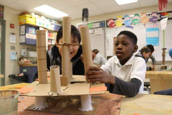 Students at Rutherford Elementary built a water tower in the Form and Function program.