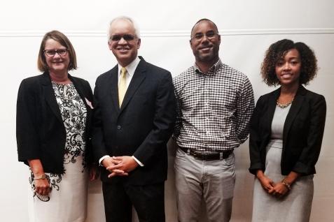 (Left to right) Anna Faul, Ph.D., Christopher E.Johnson, Ph.D., Brad Sutton, M.D., M.B.A.,  J'Aime Jennings, Ph.D.