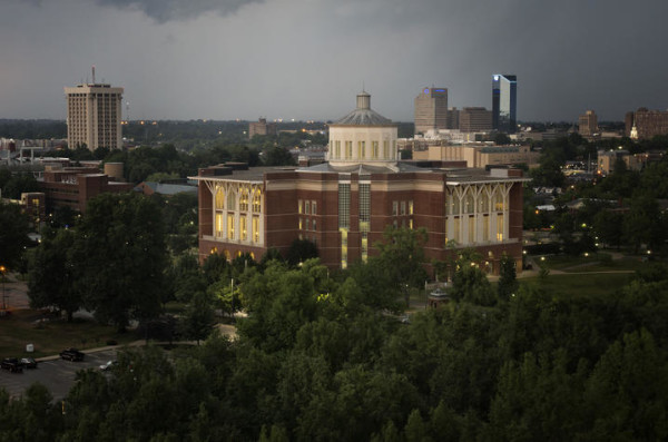The University of Kentucky campus with downtown Lexington in the background. (Photo by Mark Cornelison)