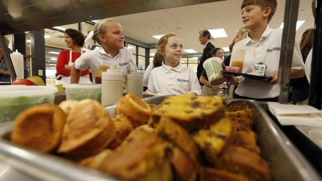 Sts. Peter and Paul Regional Catholic School students chose lunch from farm-to-table items. (Charles Bertram/Herald-Leader)