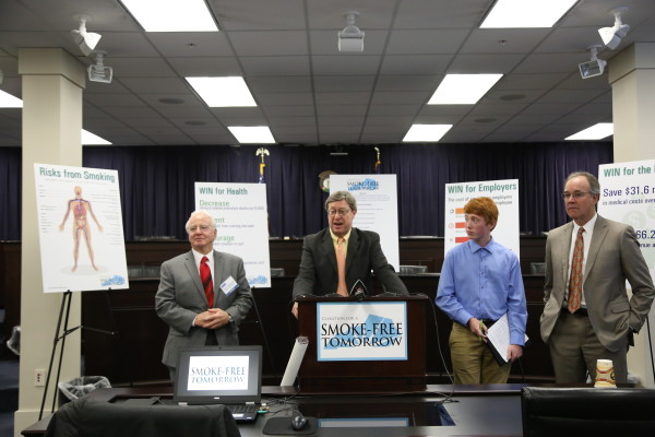 Ben Chandler (at podium) spoke Wednesday on the need for an increase on the cigarette tax.