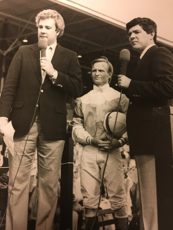 Tom Hammond, Pat Day and Mike Battaglia at the 1984 Blue Grass Stakes.
