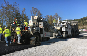 Crews are paving near a new bridge over the Licking River.