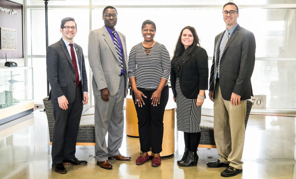 (From left) Andrew Polter, associate director of development at EKU; Dr. Tom Otieno, dean of the EKU College of Science; Monica Johnson, human resources leader at Novelis; Tammy Peyton, environmental health and safety assistant at Novelis; and Patrick McKee, sustainability manager at EKU.