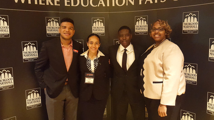 (Left to right) KSU alumnus Ralph Williams, Salinah Stringer, Jonathan Dawson and Dionna McDonald, director of student affairs initiatives at KSU.