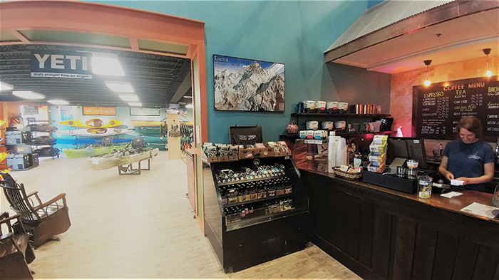 Developed by Tommy Edwards of Hagan Properties, Basecamp is a coffee shop and  example of a store-within-a-store at Quest  Outdoors in Shelbyville Road Plaza in Louisville.