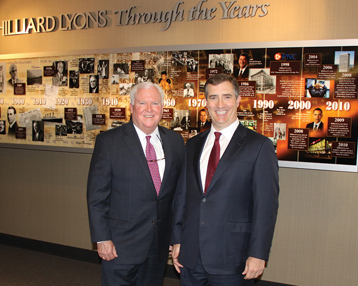 James R. Allen, left, CEO and chairman of Hilliard Lyons, and Thomas Kessinger III, president, have already spent six months working in neighboring offices as part of the succession process at the 163-year-old full-service wealth management firm.
