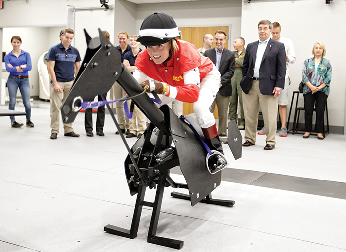 An Equine Race Trainer at the University of Kentucky's SMRI simulates 3D motion capture technology similar to that used for video game development to better understand the demands of the equestrian athlete, injury prevention for over-use injuries and aid in developing return-to-ride protocols after injury.
