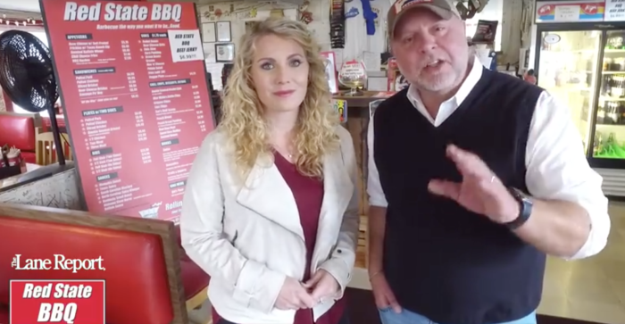 Meredith Lane, left, and David Carroll, owner of Red State BBQ.