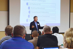 Michael Ramage, director of the Center for Telecommunications Systems Management at Murray State, introduced the Technology Council of West Kentucky at IT Matters.