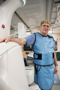 UofL's Douglas Coldwell, M.D., Ph.D., with the new Discovery IGS 740 system at University of Louisville Hospital.